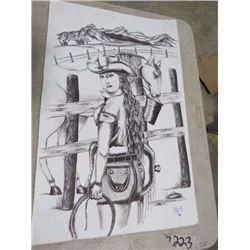 ORIGINAL INK COWGIRL PORTRAIT *SIGNED*