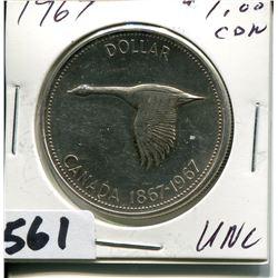 1967 CNDN SILVER DOLLAR UNC