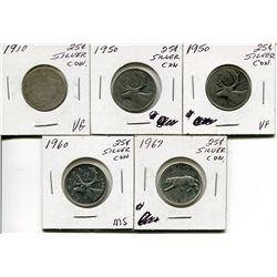 5 CNDN SILVER QUARTER (1910, 50 (X2), 60, 67)