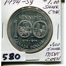 1974 CNDN .500 SILVER WINNIPEG CENTENNIAL MINT COIN