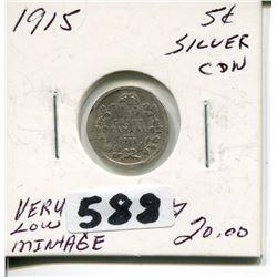 1915 CNDN SILVER NICKEL *VERY LOW MINTAGE*