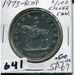 1973 CNDN .500 SILVER RCMP CENTENNIAL DOLLAR