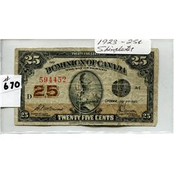 1923 CNDN 25 CENT SHINPLASTER NOTE