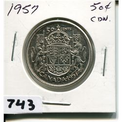 1957 CNDN SILVER 50 CENT PC