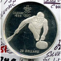 1988 CNDN 92.5 SILVER OLYMPIC 20 DOLLAR COIN