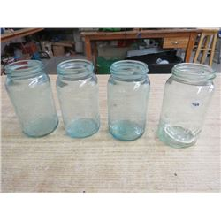 4 IMPROVED GEM GREEN CANNING JARS