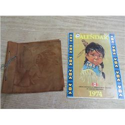 1974 CNDN CALENDARS & LEATHER COVER FOR POSTCARD ALBUM
