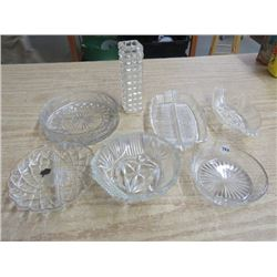 LOT OF CONDIMENT DISHES, & VASE, (1 - 22KT HAZEL ATLAS GLASS CO)