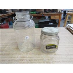 2 JARS, 1 W/HANDLE, 1 SUNKIST TOBACCO