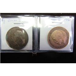1914 & 1916 KING GEORVE V LARGE PENNY TOKENS (2)