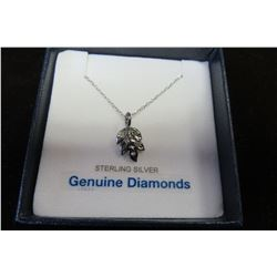 """STERLING SILVER DIAMOND """"LEAF"""" PENDANT WITH CHAIN"""