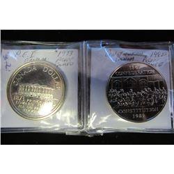 1973 PEI & 1986 CONSTITUTIONAL CANADIAN CAMEO DOLLAR