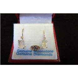 10 KT YELLOW GOLD 6X4 MM GENUINE MOONSTONE (1.15 CTS) & DIAMOND (0.06 CTS) EARRINGS