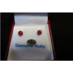 10 KT WHITE GOLD 4.5 MM GENUINE RUBY EARRINGS