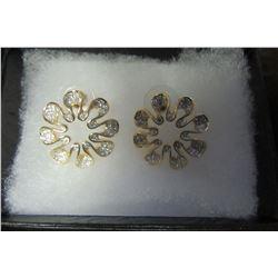 Gold and Swarovski crystal flower earrings