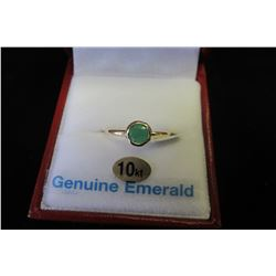 10 KT YELLOW GOLD 5MM GENUINE EMERALD RING (0.5 CTS)