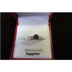 STERLING SILVER 5 MM GENUINE SAPPHIRE RING