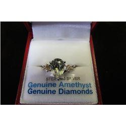 STERLING SILVER 10 X 7 MM GENUINE GREEN AMETHYST (1.7 CTS) & DIAMOND RING