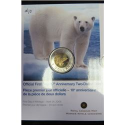 FIRST DAY TENTH ANNIVERSARY SEALED POLAR BEAR TWO DOLLAR COIN