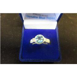 STERLING SILVER 8 MM GENUINE BLUE TOPAZ RING