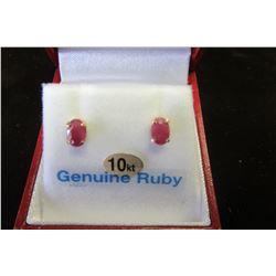 10 KT GOLD 6X4 MM GENUINE RUBY EARRINGS