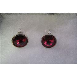 Fushia flower swarovski crystal stud earrings.