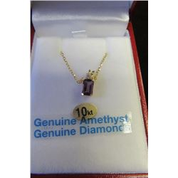 14 KT YELLOW GOLD 6X4 MM GENUINE AMETHYST (0.5 CTS) & DIAMOND (0.02 CTS) PENDANT WITH SS GOLD CHAIN