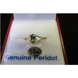 10 KT YELLOW GOLD 6X4 MM GENUINE PERIDOT RING
