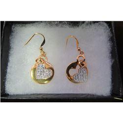 Gold framed Swarovski crystal heart dangle earrings
