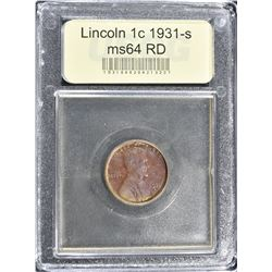 1931-S LINCOLN CENT, USCG CH/GEM BU RED50