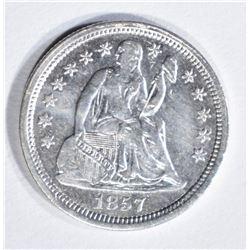 1857 SEATED LIBERTY DIME AU