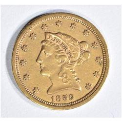 1859-S $2.5 GOLD LIBERTY CH AU