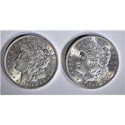 1882-S CH BU SCRATCH & 1921-D CH BU MORGAN DOLLARS