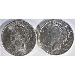 1922-D & 23-S PEACE DOLLARS BU