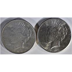 1926 BU & 1926-D AU PEACE DOLLARS