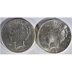 1922 BU & 1926 AU/BU PEACE DOLLARS