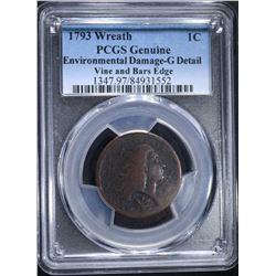 1793 WREATH LARGE CENT, PCGS GOOD RARE!!