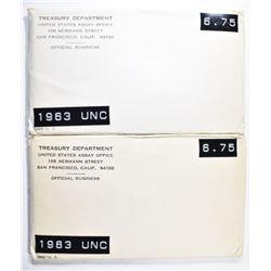 2-1963 U.S. MINT UNC SETS IN ORIG PACKAGING