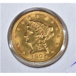 1905 $2 1/2 GOLD LIBERTY  CH BU