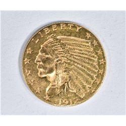 1912 $2 1/2 GOLD INDIAN HEAD  CH BU