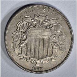 1867 SHIELD NICKEL AU/BU