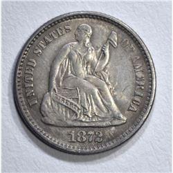 1872 SEATED LIBERTY HALF DIME BU