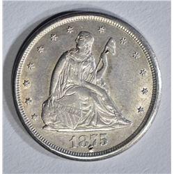 1875-CC 20 CENT PIECE AU/BU MARK BY DATE