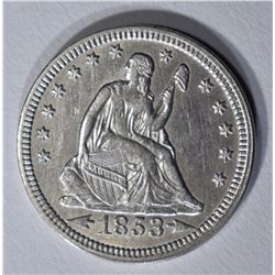 1853 ARROWS AND RAYS SEATED QUARTER AU