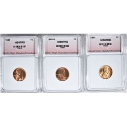 1940, 1940-S, 1941 LINCOLN CENTS