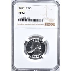 1957 WASHINGTON QUARTER, NGC PF-69