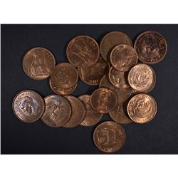 20 FOREIGN COPPER COINS ALL CH BU, SOME RED SOME R
