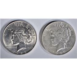 1923-D AU & 27-D XF/AU PEACE DOLLARS
