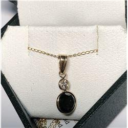 10/14KT Gold Black Diamond Necklace