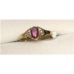 10KT Gold Tourmaline & Diamond Ring Size 6 1/4